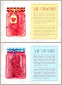 Canned Strawberries And Raspberries In Jars Banners Set. Preserved Berries Inside Glass Containers B poster