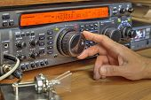 Modern High Frequency Radio Amateur Transceiver Closeup poster