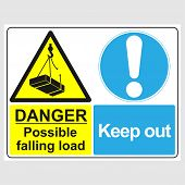 Plate: danger. Possible Falling Load. Keep Out. Sign: danger. Possible Falling Load. Keep Out On poster