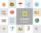 Science Type Icon Set. Archeology Astronomy Cartography Engineering Geography Geology Meteorology Pa poster