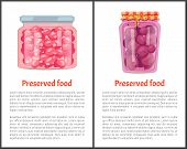 Preserved Food Posters Set With Text Sample And Jars Filled With Jam And Conserved Sweet Plums. Dess poster