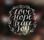 Hand Lettering With Inspirational Holiday Quotes Love, Hope, Peace, Joy poster