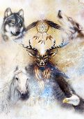 Sacred Ornamental Deer Spirit With Dream Catcher Symbol And Feathers And Wolf, Horse, Eagle In Cosmi poster