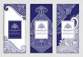 Luxury Blue Packaging Design Of Chocolate Bars. Vintage Vector Ornament Template. Elegant, Classic E poster