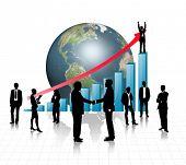 Постер, плакат: Силуэты бизнес с голубой граф