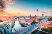 Classic View Of Berlin Skyline With Famous Tv Tower And Spree In Beautiful Golden Evening Light At S poster