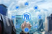Finger Touch With Property Investment Icons Over The Network Connection On Property Background, Prop poster