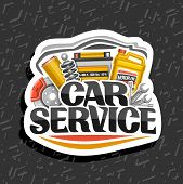 Vector Logo For Car Service, White Design Sticker With Set Of Different Auto Parts For Variety Mecha poster