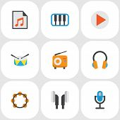Audio Icons Flat Style Set With Begin, Samba, Synthesizer And Other Earpiece Elements. Isolated  Ill poster