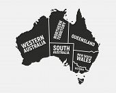 Australia Poster Map With States Names. Australian Background. Map Of Australia.  Print For T-shirt, poster