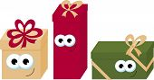 Colorful Wrapped Smiling Gift Boxes With Eyes. Beautiful Present Box With Bow. Gift Box Icon. Gift S poster