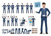 Male Business Character Vector Set. Business Man Catoon Character Creation With Different Pose For O poster