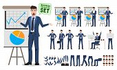 Male Character For Business Presentation Vector Set. Business Man Cartoon Character Creation Set Wit poster