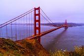 San Francisco , California International Landmark Suspension Bridge The Golden Gate Bridge Spanning  poster
