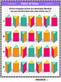 Educational Math Puzzle With Triangular Prisms (suitable Both For Children And Adults): Find The Bac poster