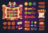 Cartoon Game Ui. Wooden Buttons, Sliders And Icons. Interface For 2d Games, App Gui Vector Design. G poster