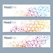 Scientific Set Of Modern Vector Banners. Dna Molecule Structure With Connected Lines And Dots. Scien poster