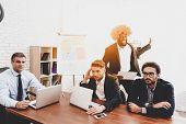 Man In Orange Wig On Business Meeting In Office. April Fools Day. Businessman In Office. April Jokes poster