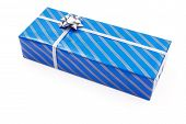 Gift In Blue Striated Paper
