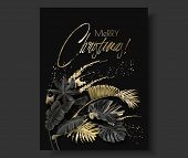 Tropical Leaves Black Gold Botany Christmas Card poster