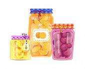 Pineapple And Peach Jam Set Of Preserved Food In Glass Containers With Sticker And Tag. Plum Fruits  poster
