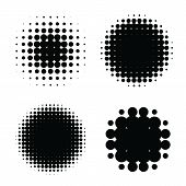 Halftone Patterns Set. Halftone Dots Circle Gradient. Circular Halftone Design Elements. poster