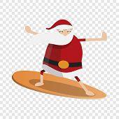 Santa Claus Surfing Icon. Cartoon Of Santa Claus Surfing Vector Icon For Web Design poster