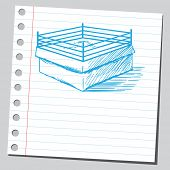 stock photo of boxing ring  - Sketch style vector illustration of a boxing ring - JPG