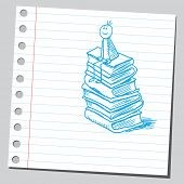 stock photo of sketch book  - Sketch style vector illustration of a boy siting on books - JPG