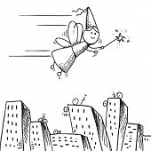 Sketch style illustration of a fairy flying over city