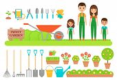 Gardener Characters, Garden Tools. Vector. Gardening Collection. Farm Family In Green Overalls, Boot poster