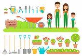 Gardener Characters, Garden Tools. Vector. Gardening Collection. Farm Family In Green Overalls, Boot poster