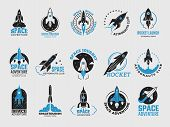 Rocket Logo. Space Satelite Retro Shuttle Moon Discovery Logotypes Of Observatory Vector Black Badge poster