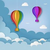 Hanging Paper Craft Hot Air Balloons, Flying Birds, Clouds On The Daytime Sky Background. Cloudy Sky poster