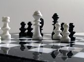 picture of boardgame  - Image of chess set in black and white
