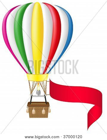 Hot Air Balloon And Blank Banner Vector Illustration