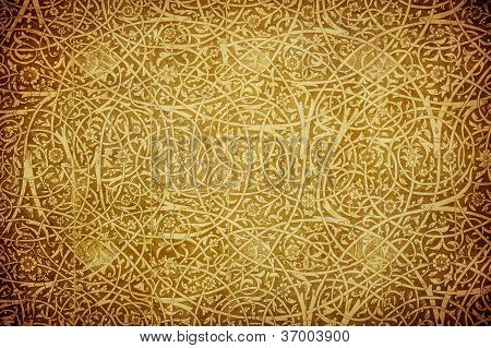 Grunge Background With Oriental Ornaments .