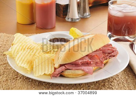 Roast Beef Sandwich With Potato Chips
