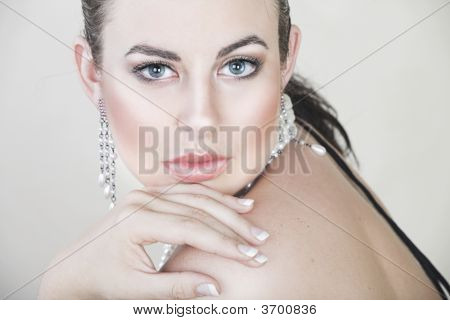 Beautiful Young Woman With Silver Jewellery