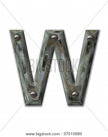 Alphabet Metal Grunge W