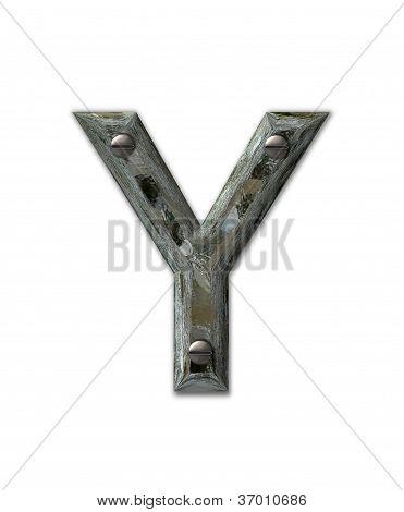 Alphabet Metal Grunge Y