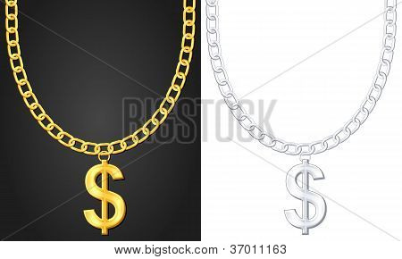 Necklace With Dolar Sign