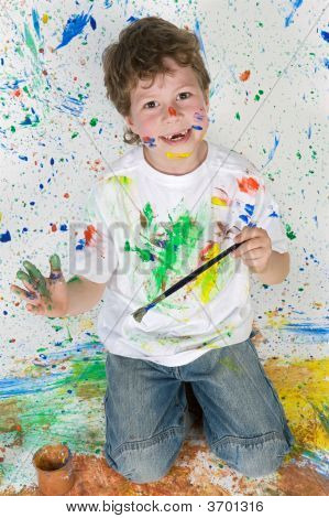 Funny Little Boy Painted His Hand