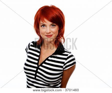 Pretty Woman Over White Background