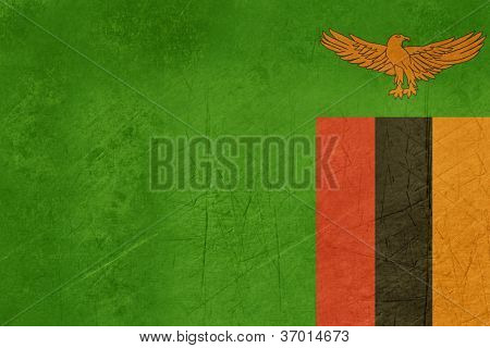 Grunge sovereign state flag of country of Zambia in official colors.
