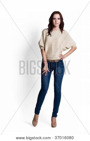 Fashion model wearing beige sweater with emotions