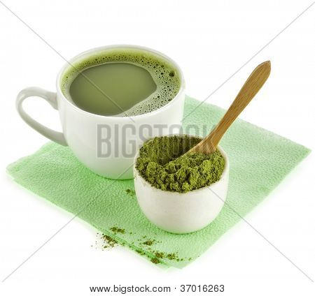 Japanese Matcha green tea in cup and tea powder