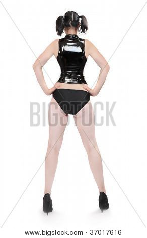 Attractive woman in latex corset.