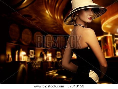 Woman in luxury club interior