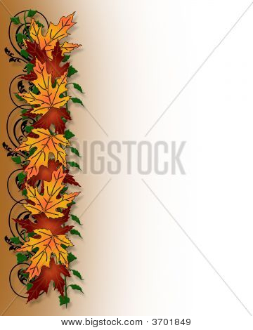 Fall Autumn Page Border Leaves